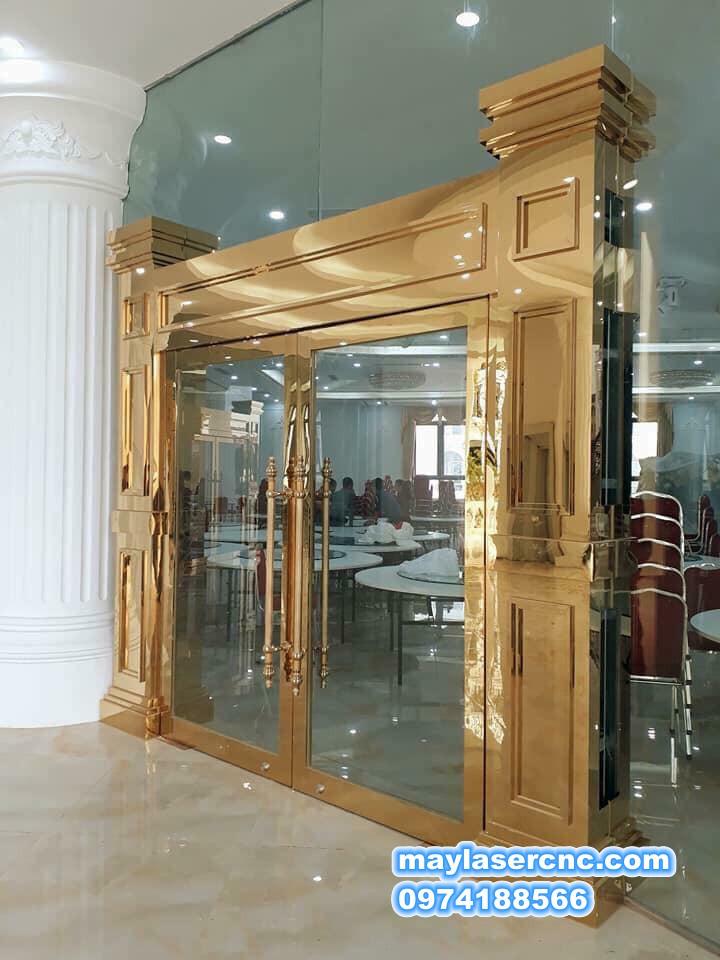 cửa mạ vàng cao cấp 03|cửa inox mạ vàng